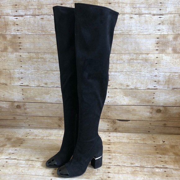 4971d6bbd00 Marc Fisher Black Cap Toe Over the Knee Boots